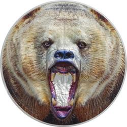 American GRIZZLY BEAR Rare Wildlife 2 Oz Silver Proof Coin Tanzania 2020
