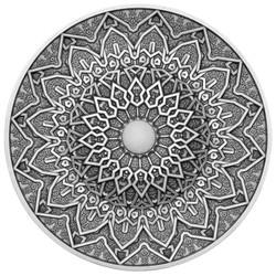 PERSIAN Mandala Art 3 oz Silver Coin with White Jasper insert Fiji 2020