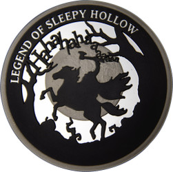 THE LEGEND OF SLEEPY HOLLOW Washington Irving 2 oz Silver Rhodium PL. Coin 5$ Niue 2020
