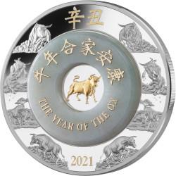 OX JADE Lunar Year 2 oz Silver Coin 2000 Kip Lao Laos 2021