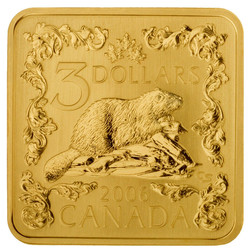 THE BEAVER $3 Silver Proof Gold Plated coin KM# 657 2006 Canada