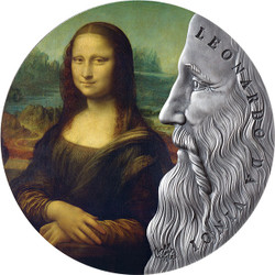 LEONARDO Da VINCI – 2 oz Silver Antique Finish Color Coin Ghana 2019