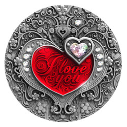 I LOVE YOU Heart 2 oz Silver Coin with SWAROVSKI insert Niue 2020