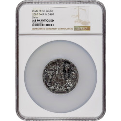 NGC MS70 graded SHIVA Gods Of The World 3 oz Silver Coin Cook Islands 2019