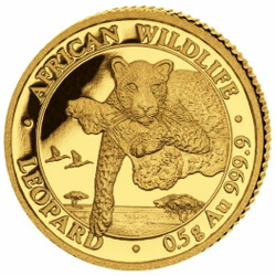 LEOPARD African Wildlife 0.5 g Pure Gold Proof Coin Somalia 2020