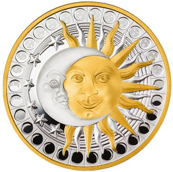 SUN and MOON Silver Proof Coin with Pendent bezel Cameroon 2020