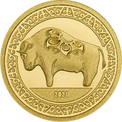 MIGHTY OX Lunar Year 0.5 g Gold Proof Coin Mongolia 2021