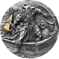 ERIC BLOODAXE – VIKINGS 2 oz Antique Finish Silver Coin Niue 2020