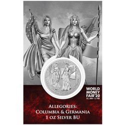 COLUMBIA & GERMANIA – The Allegories 1oz Silver World Money Fair 2020 blister