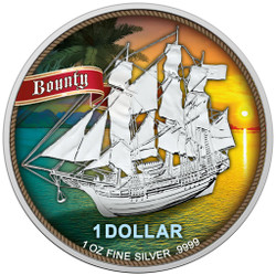 SAILING SHIP BOUNTY - SUNSET 1 oz Silver Color Coin 2020 Cook Island