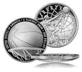 Basketball Hall of Fame Proof Silver Dollar USA 2020