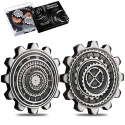 INDUSTRY in MOTION 2 oz Gear-Shaped Antiqued 2 Silver Coin Set 2020 Tuvalu