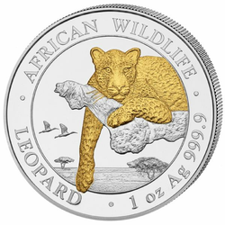 LEOPARD - African Wildlife 1 oz Silver Gilded Coin 2020 Somalia