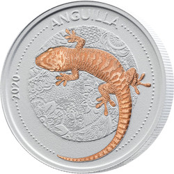 GECKO Ceco Ceramic 1 oz Silver with Rose gold Coin Anguilla 2020