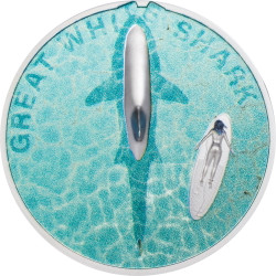 GREAT WHITE SHARK 1 oz Silver Ultra high relief Coin $5 Palau 2021
