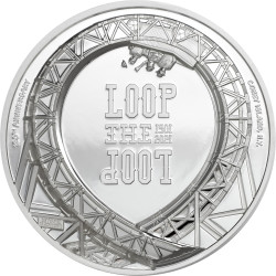 LOOP THE LOOP Roller Coaster 1 Oz Silver Coin 5$ Cook Islands 2021
