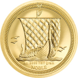 1/64 NOBLE Piedfort 0.5 g Gold Coin Isle of Man 2020
