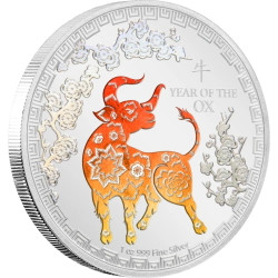 YEAR OF THE OX Lunar 1 oz Silver Color Coin $2 Niue 2021