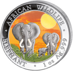 2014 1 oz Silver Coin - Somalia African Elephant - Sunset