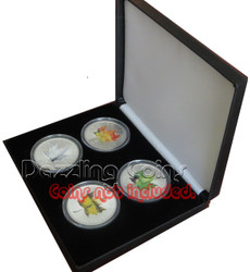 4 Coins Display Case With Leatherette Finish H size