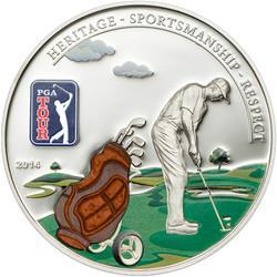 Cook Islands 2014 5$ PGA TOUR - 3D Golf Bag Silver Coin Proof