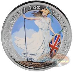 2014 Great Britain 1 Troy Oz .999 Silver Britannia Coin £2 Coin Colorized