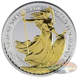 2014 UK 1 Oz .999 Silver Britannia Coin £2 Coin Gilded
