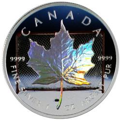 HOCKEY Hologram Maple Leaf Silver Coin .9999 2014