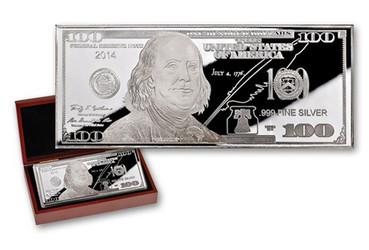 $100 Silver Franklin 1 oz Proof USA 2014