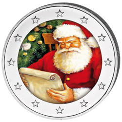 2 Euro Christmas Colored Coin with Santa Claus II