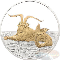 2015 Myth & Legend - Capricornus 1oz Silver Gilded Proof Tokelau Coin