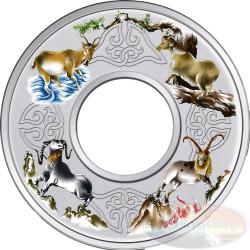 2 oz Elemental Goat - Silver Colored Proof Ring-Shaped 2015 Tokelau