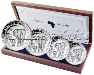 2015 Somalian African Wildlife ELEPHANT 4 Silver Coin Set