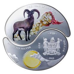 "2015 Fiji 2x$1 Silver Proof Coin ""Year of the Goat Yin & Yang"""