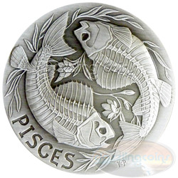 2015 Zodiac PISCES MEMENTO MORI Rimless HR Antique Silver 1oz