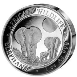 2014 Somalia~High Relief African Wildlife ELEPHANT 1oz Silver Coin