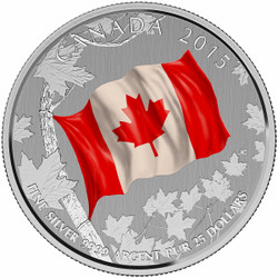 "2015 $25 Silver Coin - Canadian "" Maple Leaf Flag"""