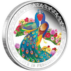 2015 Niue 1 oz Silver $2 Love is Precious Peafowls