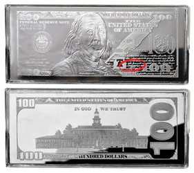 $100 Silver Franklin 4 oz Bars USA 2016