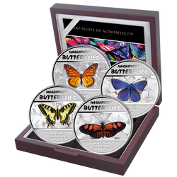 Magnificent Butterflies-Set of Silver Proof coins Congo 2014