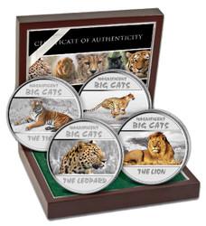 Magnificent Big Cats Silver Proof coins Congo 2011