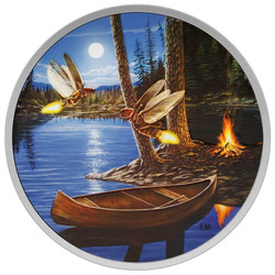 2015 $30 2 oz Silver Coin - Moonlight Fireflies - Glows in the Dark