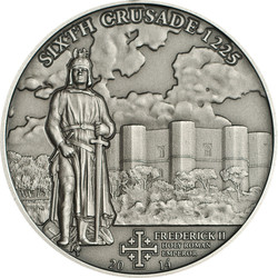 CRUSADE 6 Frederick II Silver Coin 5$ Cook Islands 2014