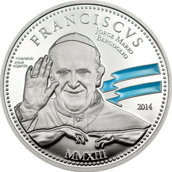 Pope Franciscus 1st Anniversary ~Silver Coin 2$ Cook Island 2014