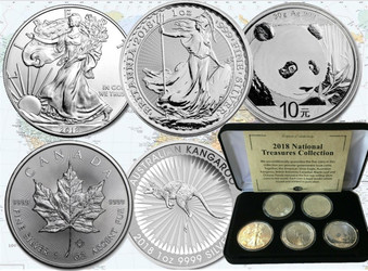 National Treasures Collection Set 5 x 1oz Silver Proof Coins 2018