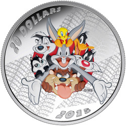 Looney Tunes- Merrie Melodies 2015 $20 1 oz Silver Coin