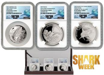 2015 1-oz Silver Shark Collection NGC PF69 3pc
