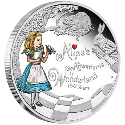 2015 1 oz Silver Coin - 150th Ann. of Alice's Adventures in Wonderland