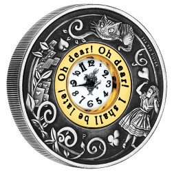 2015 2 oz Silver Coin - 150th Anniversary of Alice's Adventures in Wonderland - Antiqued Clock