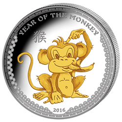 2016 Palau 1 Oz .999 Silver Year of the Monkey $5 Gilded II HR Coin